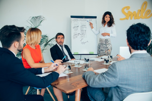 Mujer de negocios enseñando su estrategia