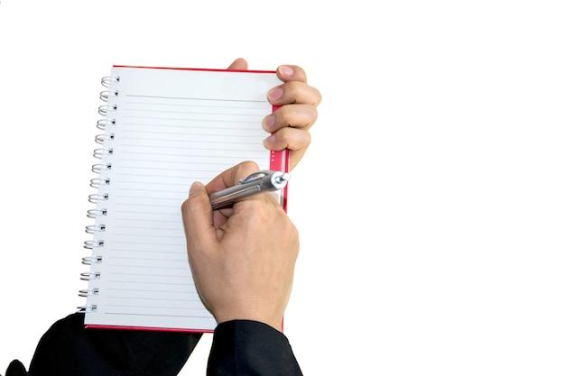 Mujer de negocios escribiendo la palabra sobre negocios.