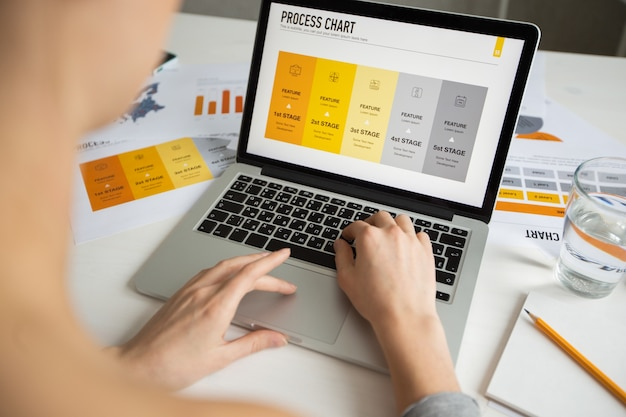 Mujer de negocios, examen, proceso, gráfico, computadora portátil