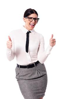 Mujer de negocios, gesticular, pulgares arriba