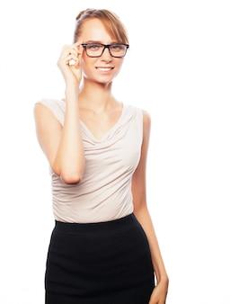 Mujer de negocios joven con gafas