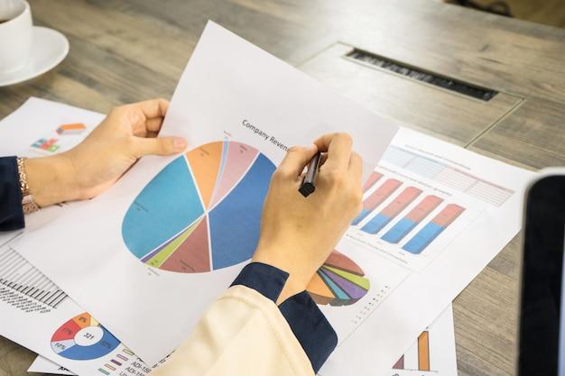 La mujer de negocios está planeando por la carta y el diagrama de papel y toma café en la oficina