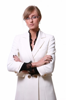 Mujer de negocios rubia hermosa blanca