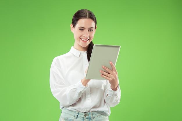Mujer de negocios, con, tableta