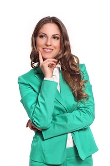 Mujer de negocios en traje verde
