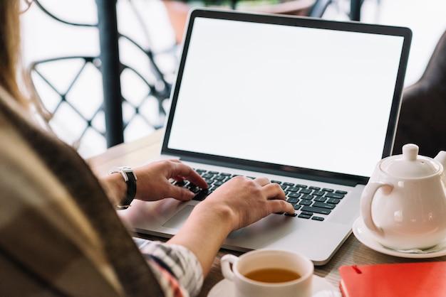 Mujer de negocios usando portátil en cafetería