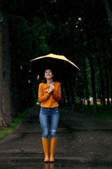 Mujer con paraguas, vista posterior, lluvia en el parque de verano, día lluvioso. persona de sexo femenino caminando solo, clima húmedo en el callejón