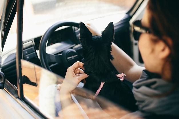 Una mujer con un perro en su carro.