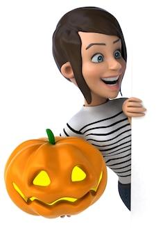 Mujer de personaje casual de dibujos animados 3d divertido