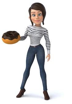 Mujer de personaje casual de divertidos dibujos animados en 3d