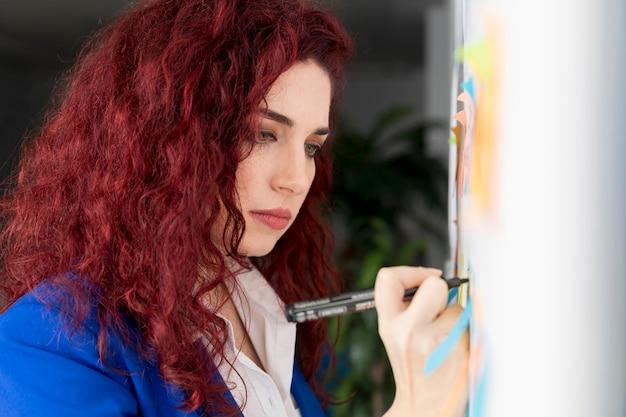 Mujer planeando el método comercial