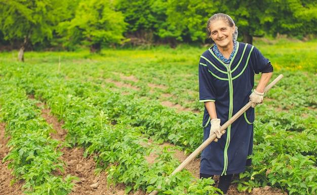 Mujer plantar verduras y sonriendo en la granja con equipos.