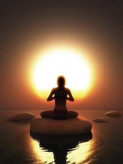 Mujer en pose de yoga en la roca en el océano contra un cielo al atardecer