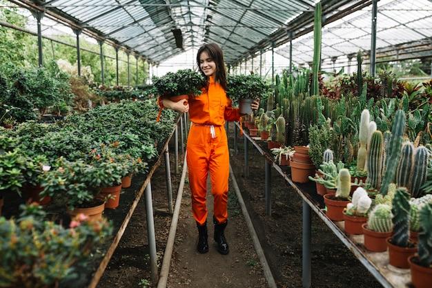 Mujer que sostiene las plantas en maceta en invernadero