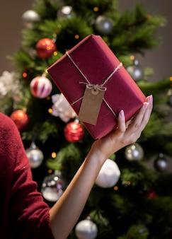 Mujer que sostiene el regalo de navidad envuelto por ella