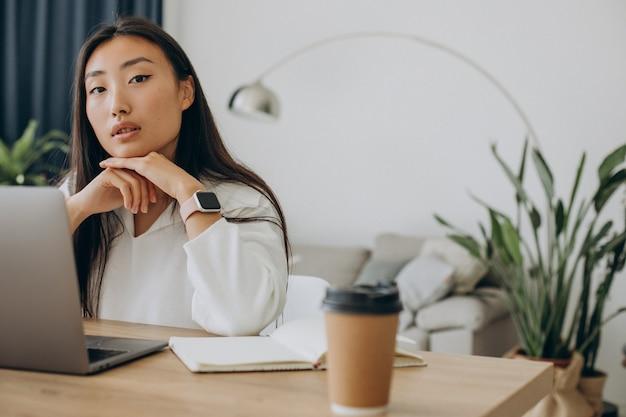 Mujer que trabaja en la computadora en el escritorio desde casa