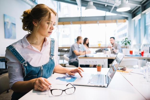 Mujer que usa la computadora portátil en la oficina