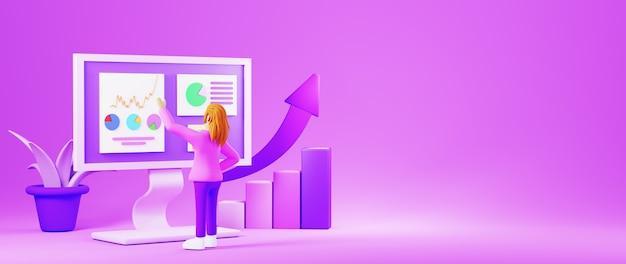 Mujer de render 3d con pantalla con gráficos y planta púrpura aislada en banner de fondo púrpura