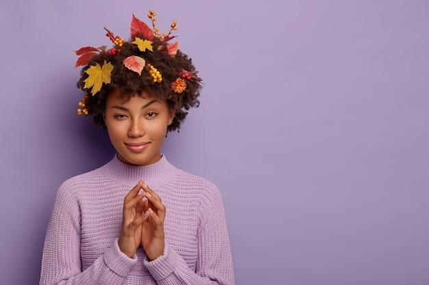 Una mujer rizada intrigada se frota las palmas de las manos, tiene una mirada curiosa, levanta las cejas, usa un suéter de punto, hojas amarillas caídas de los árboles, aisladas sobre una pared púrpura