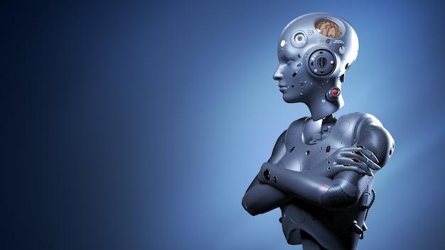 Mujer robot, mujer de ciencia ficción, mundo digital del futuro de las redes neuronales y la inteligencia artificial 3d render