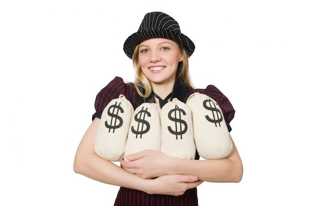 Mujer con sacos de dinero en blanco