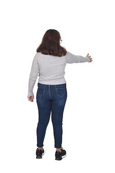 Mujer, sacudarir las manos, blanco, plano de fondo