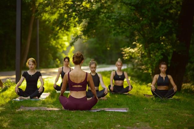 La mujer se sienta en pose de yoga en la hierba, entrenamiento en grupo