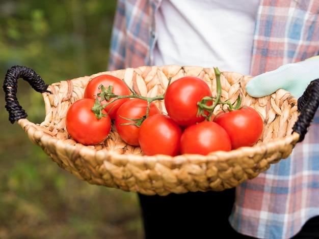 Mujer sosteniendo una canasta llena de tomates