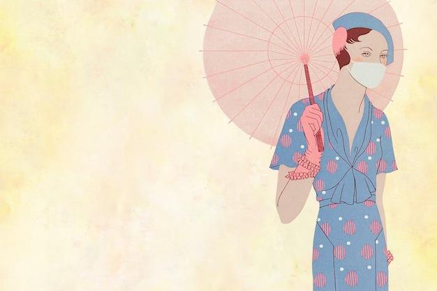 Mujer sosteniendo un fondo de paraguas vintage, remezclado de obras de arte de m. renaud