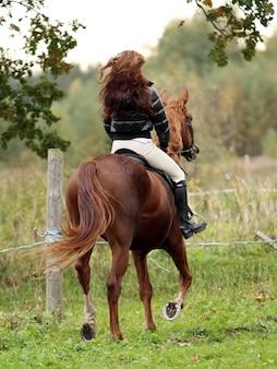 Mujer y su caballo marrón