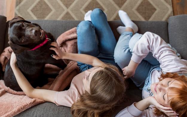 Mujer de tiro completo y perro en el sofá