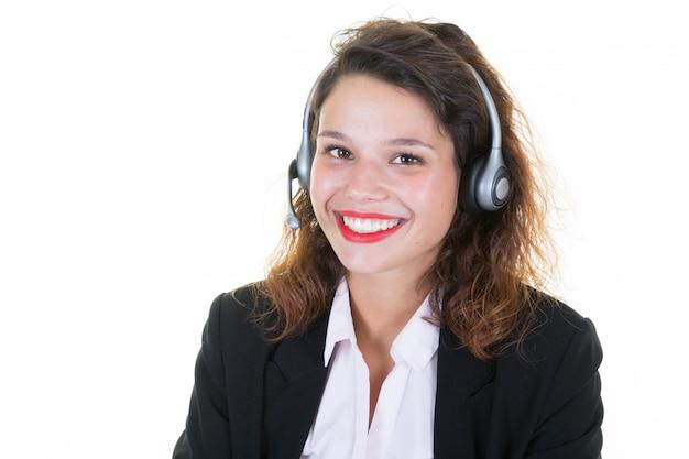 Mujer trabajadora, con, auriculares