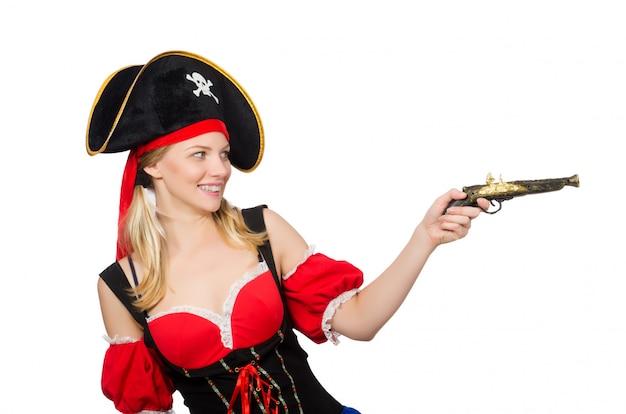 Mujer en traje de pirata - concepto de halloween