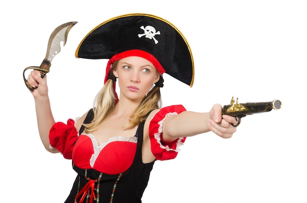 La mujer en traje de pirata - concepto de halloween