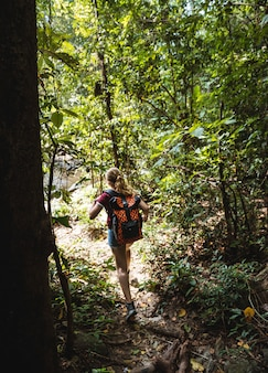 Mujer trekking en el bosque