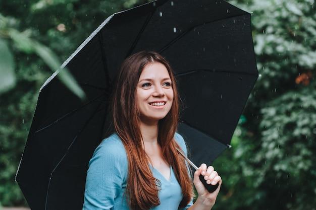 Mujer con vestido azul con paraguas bajo la lluvia