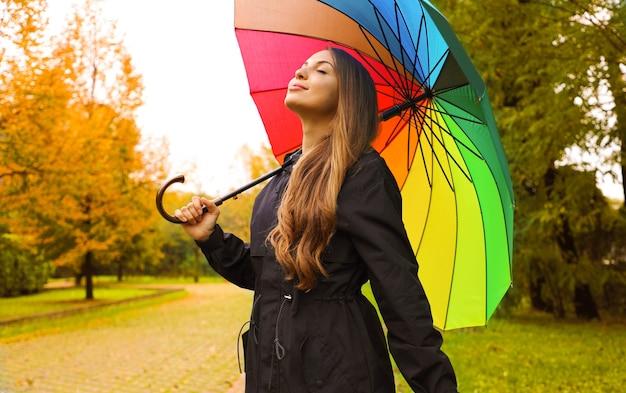 Mujer vistiendo impermeable bajo una sombrilla en el parque de la ciudad
