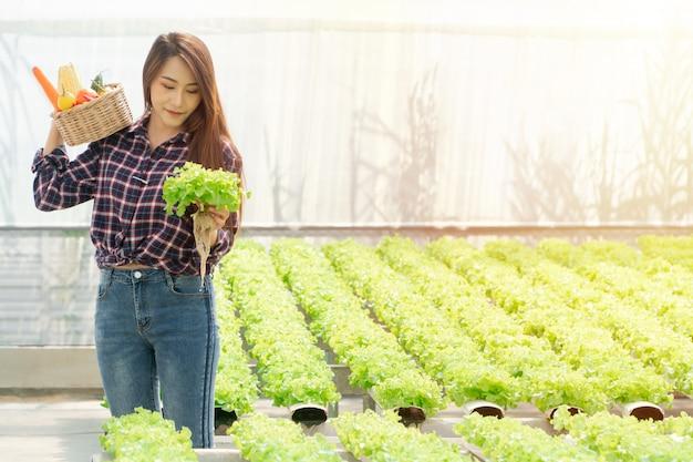 Las mujeres asiáticas agricultor manos llevando verduras orgánicas frescas en caja de madera de la granja hidropónica