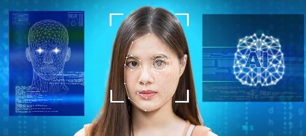 Mujeres asiáticas que utilizan tecnología de detección de rostros y reconocimiento facial con inteligencia artificial y cerebro
