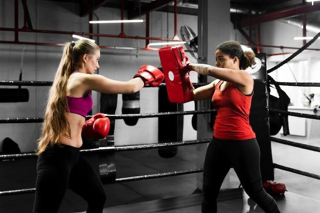 Mujeres atléticas entrenando juntas en el centro de boxeo