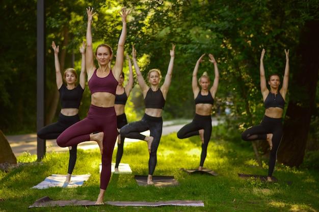 Mujeres haciendo ejercicios de estiramiento, entrenamiento de yoga en grupo sobre la hierba