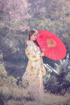 Las mujeres jovenes asiáticas que llevan el kimono japonés tradicional que sostiene el paraguas rojo en el flor de cereza parquean.