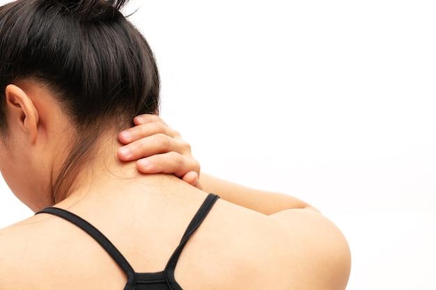 Las mujeres jóvenes dolor en el cuello y el hombro la atención médica de lesiones y el concepto médico
