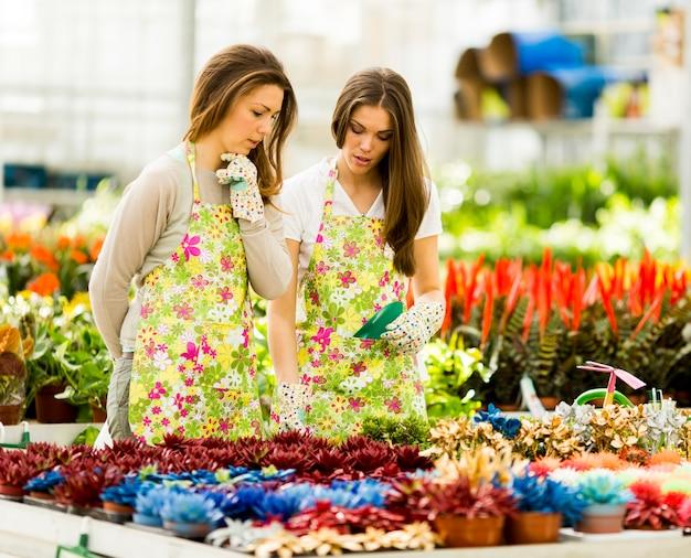 Mujeres jóvenes en jardín de flores