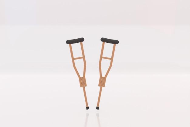 Muletas de madera herramientas sobre fondo blanco.