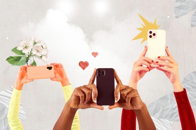 Multitud de la audiencia de las redes sociales filmando a través de teléfonos inteligentes con medios remezclados