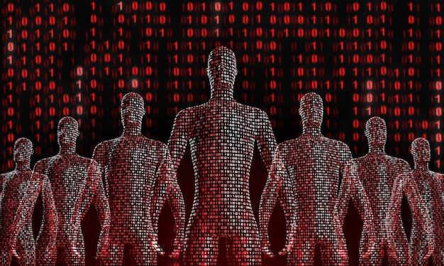 Multitud de personas digitales que caminan. el concepto de simbiosis del hombre y la tecnología. integración informática en humanos. representación 3d