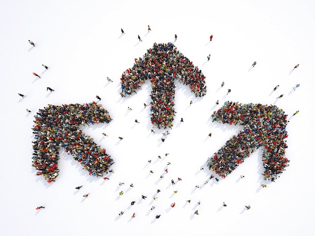 Multitud de personas formando tres flechas que van en tres direcciones diferentes. representación 3d