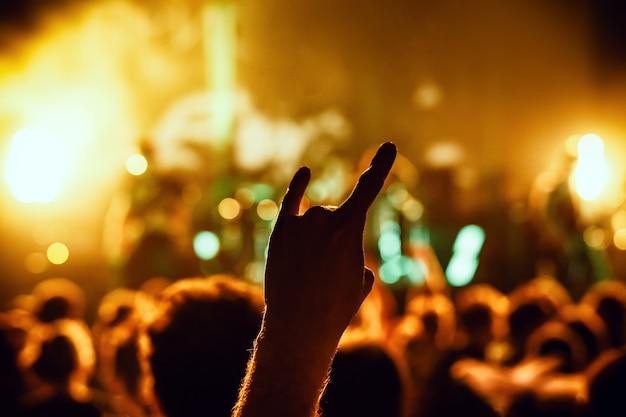 Multitud vitoreando en concierto silueta de una mano de fans