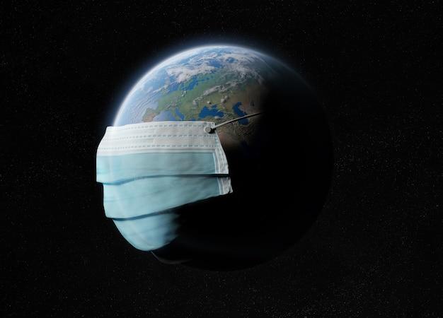 El mundo cubierto por una máscara quirúrgica de la pandemia de coronavirus.